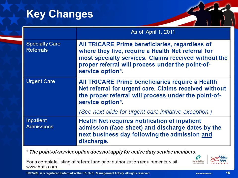 Key Changes As of April 1, 2011. Specialty Care Referrals.
