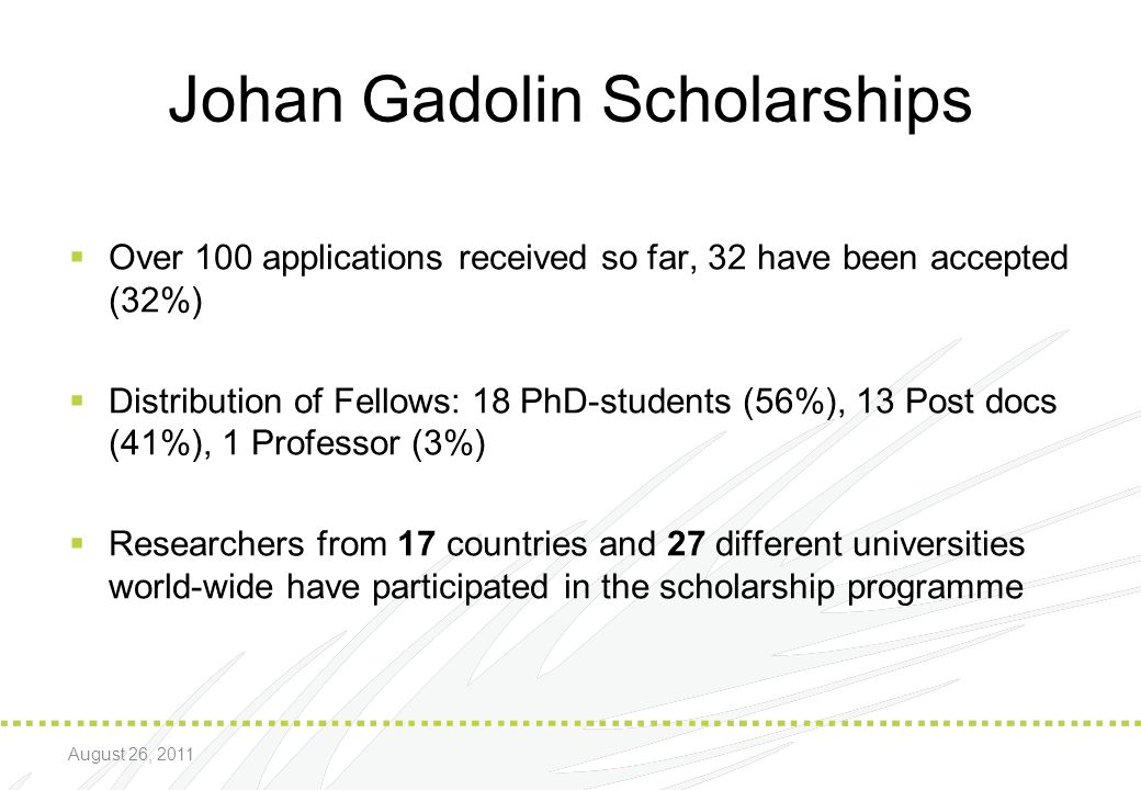 Johan Gadolin Scholarships