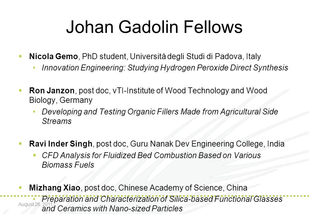 Johan Gadolin Fellows Nicola Gemo, PhD student, Università degli Studi di Padova, Italy.