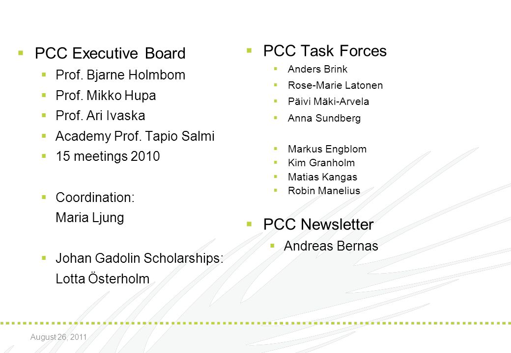 PCC Executive Board PCC Task Forces PCC Newsletter