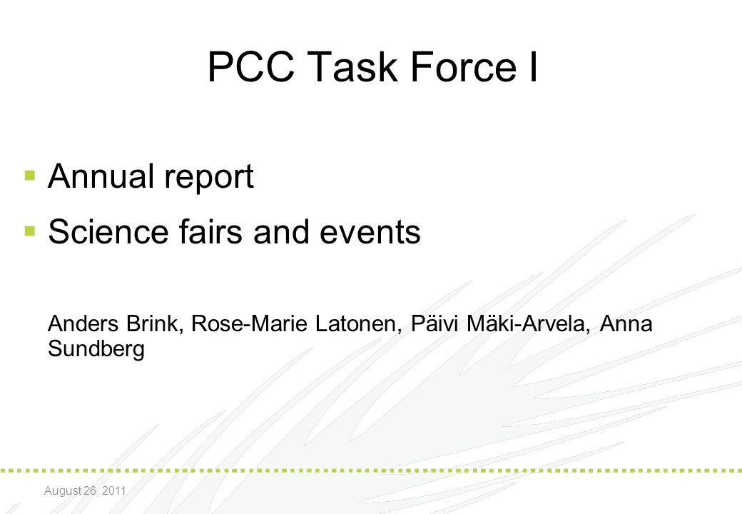 PCC Task Force I Annual report Science fairs and events