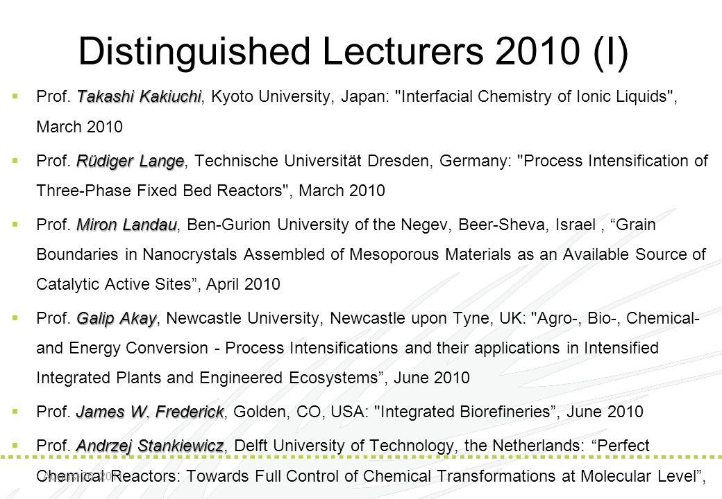 Distinguished Lecturers 2010 (I)