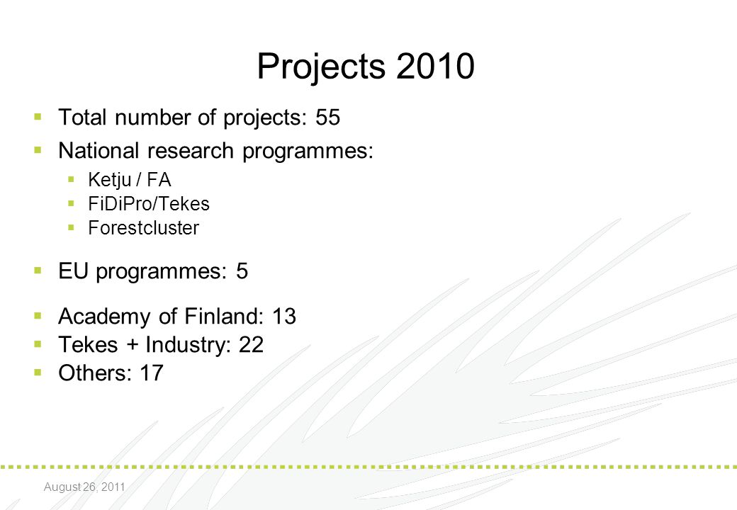 Projects 2010 Total number of projects: 55