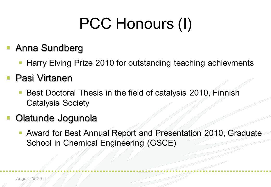 PCC Honours (I) Anna Sundberg Pasi Virtanen Olatunde Jogunola