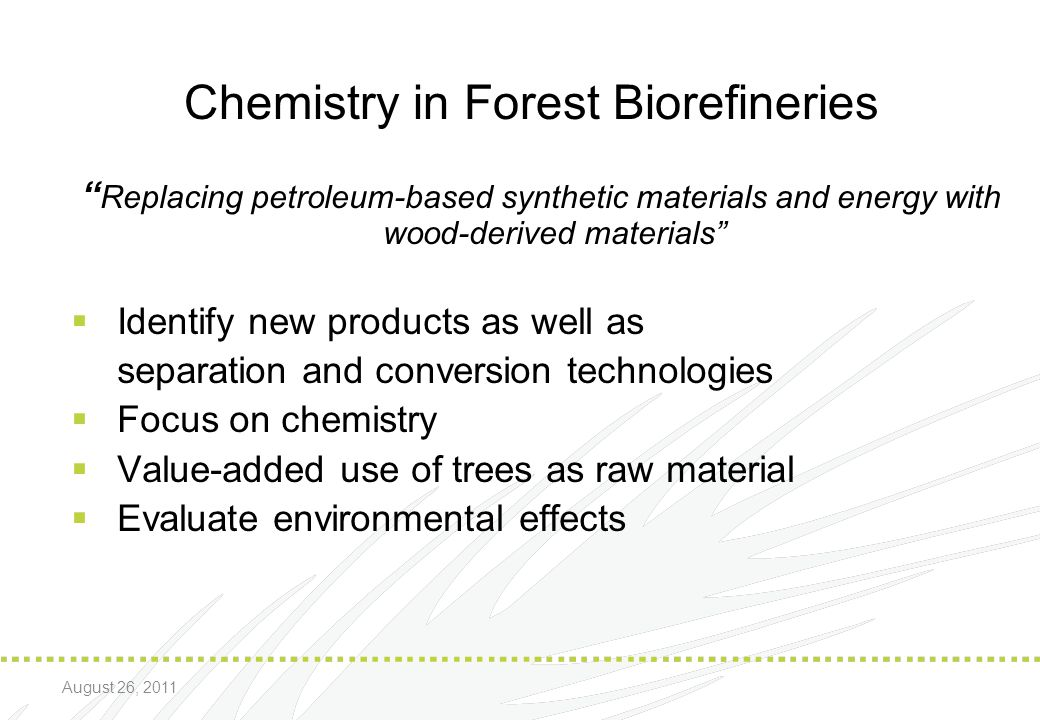 Chemistry in Forest Biorefineries