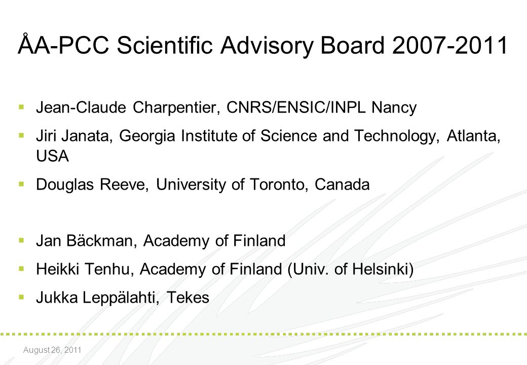 ÅA-PCC Scientific Advisory Board 2007-2011