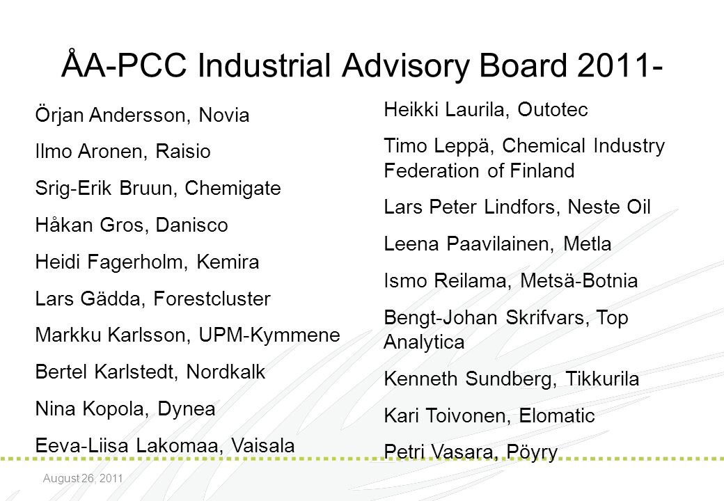 ÅA-PCC Industrial Advisory Board 2011-