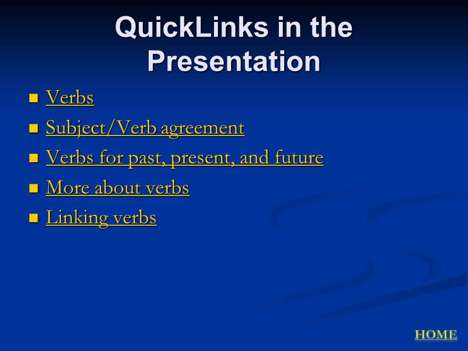 QuickLinks in the Presentation