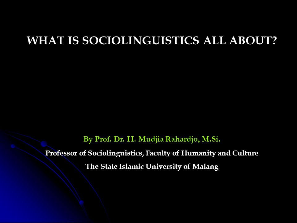 WHAT IS SOCIOLINGUISTICS ALL ABOUT