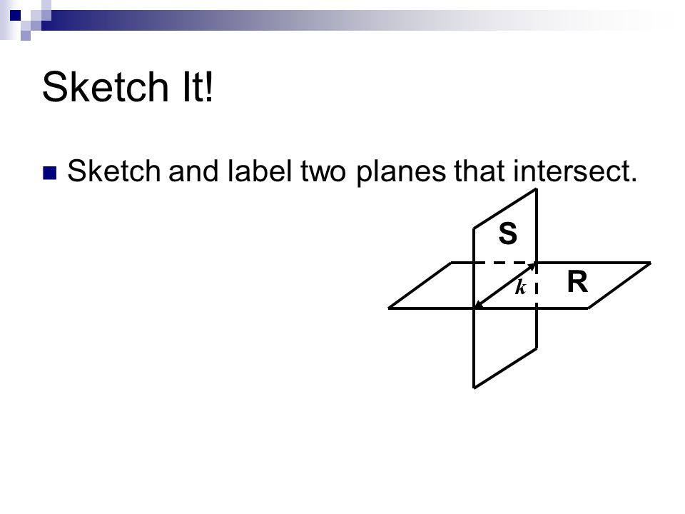 Sketch It! Sketch and label two planes that intersect. S R k