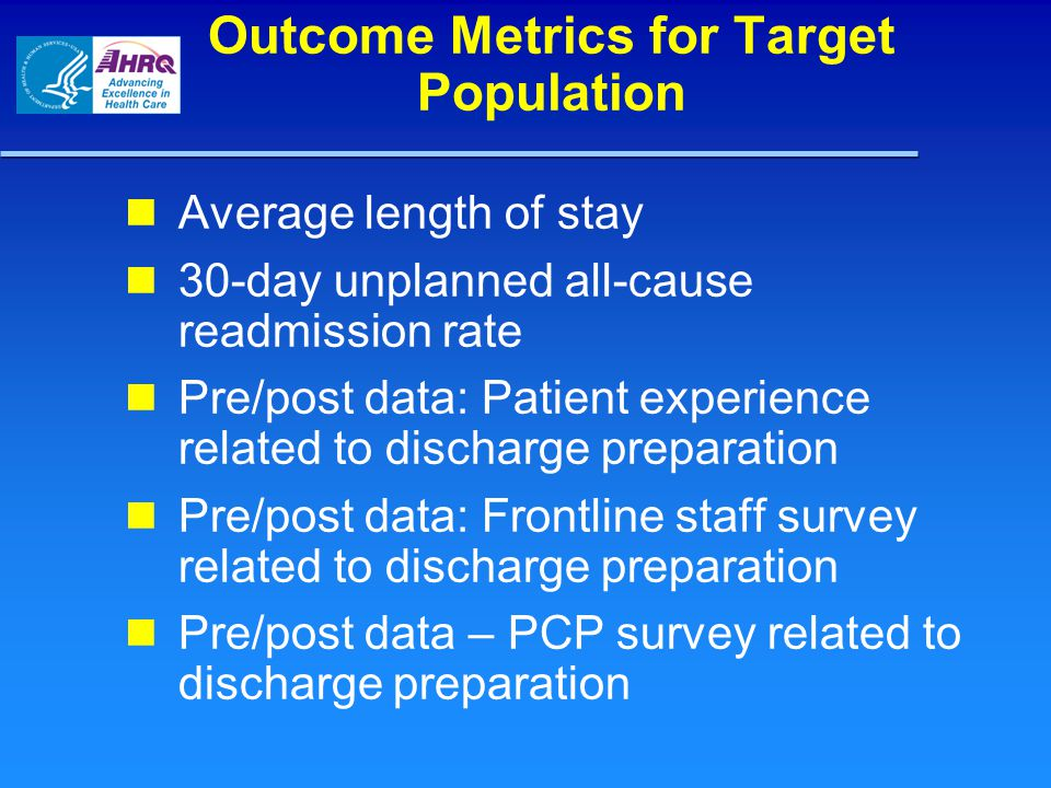 Outcome Metrics for Target Population