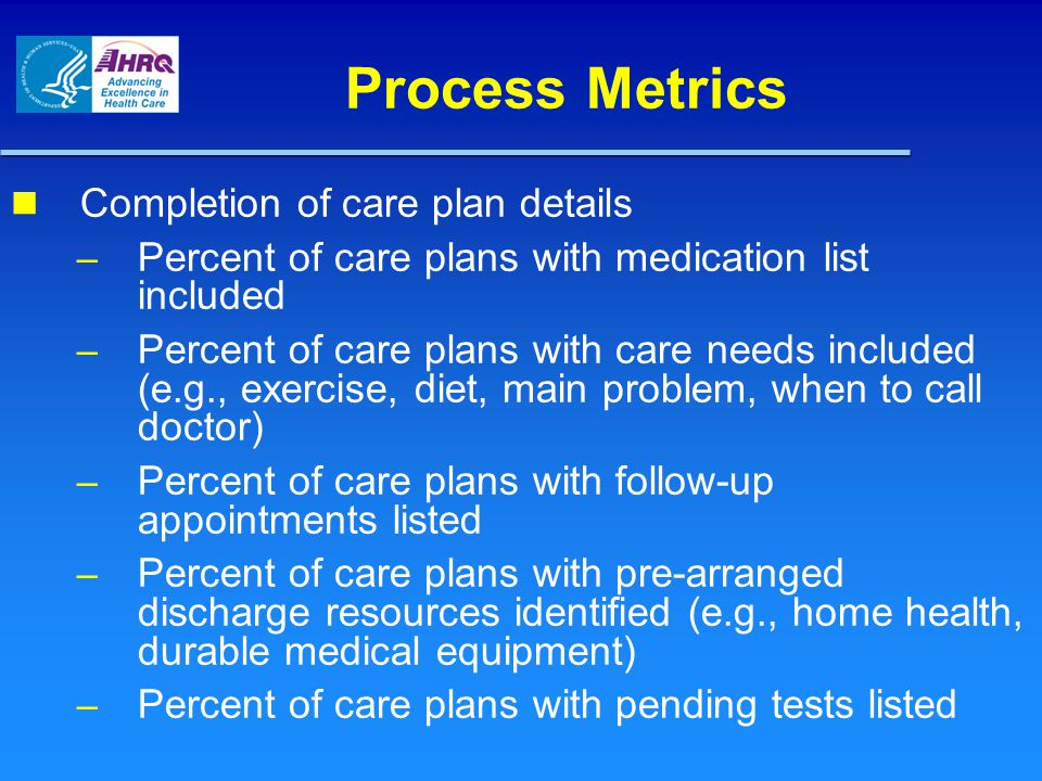 Process Metrics Completion of care plan details