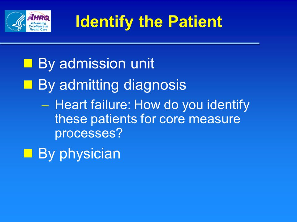 By admitting diagnosis