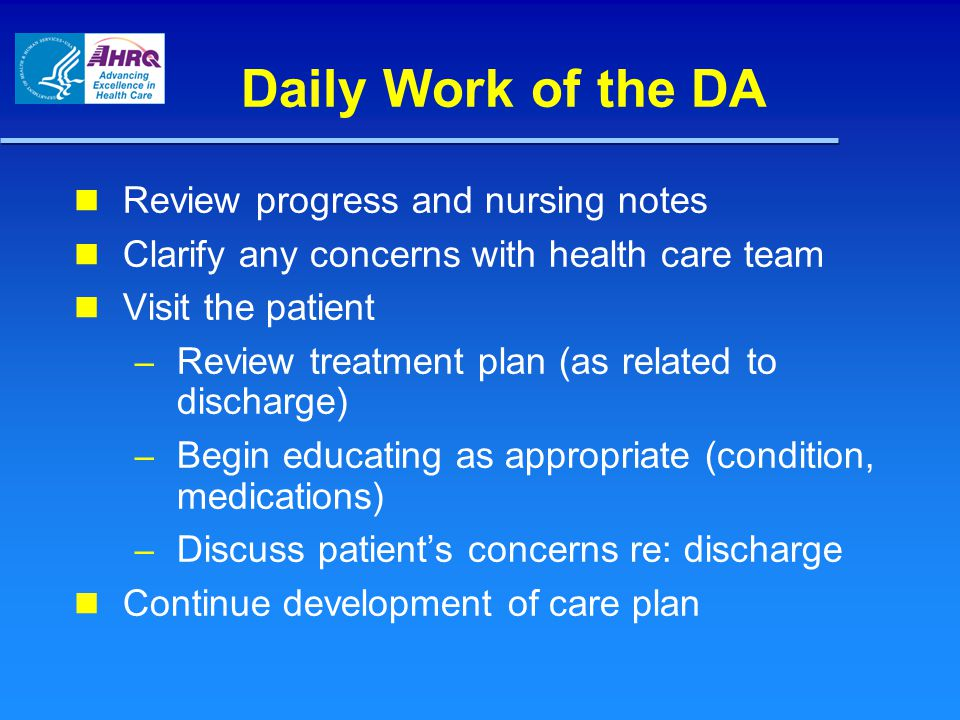 Daily Work of the DA Review progress and nursing notes