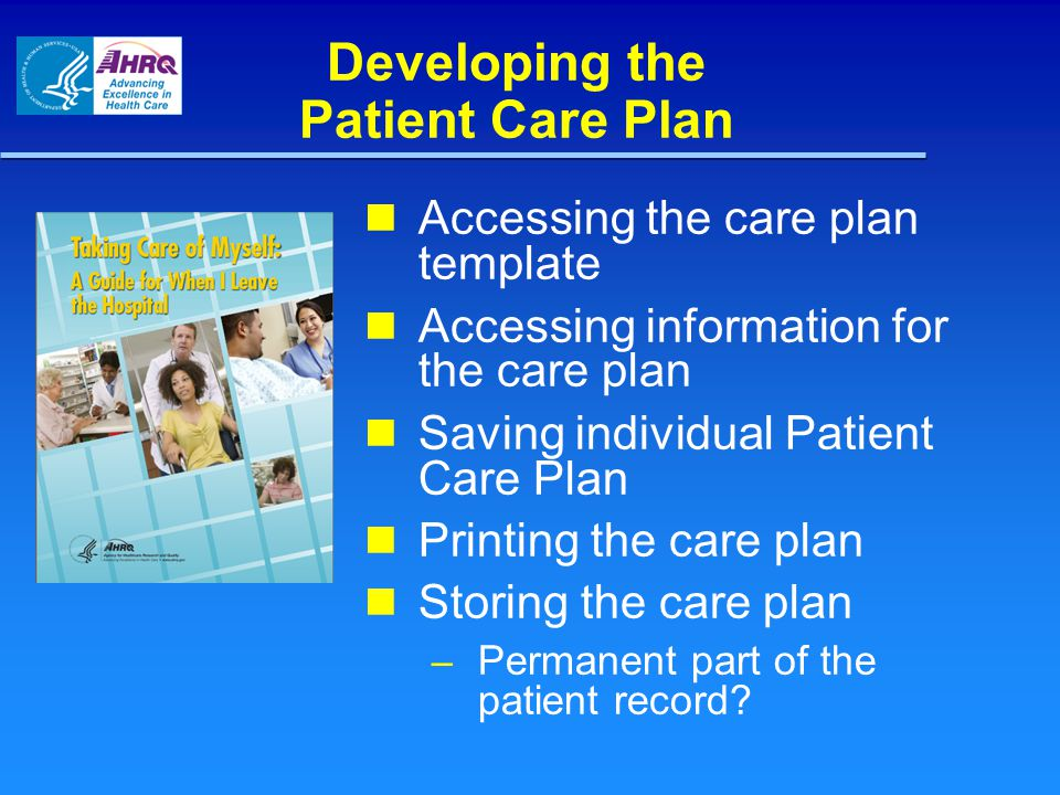 Developing the Patient Care Plan