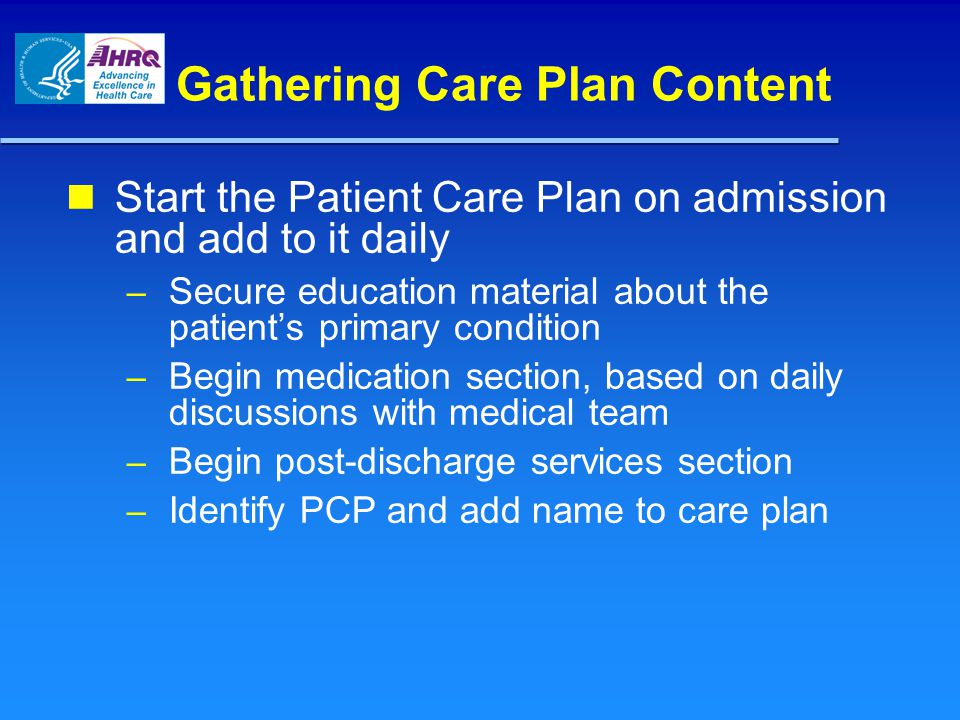 Gathering Care Plan Content