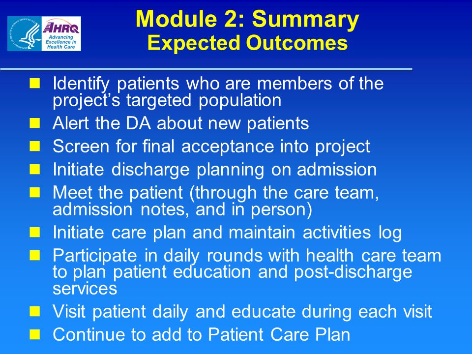 Module 2: Summary Expected Outcomes