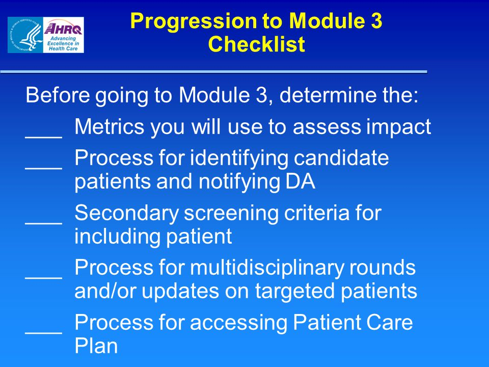 Progression to Module 3 Checklist