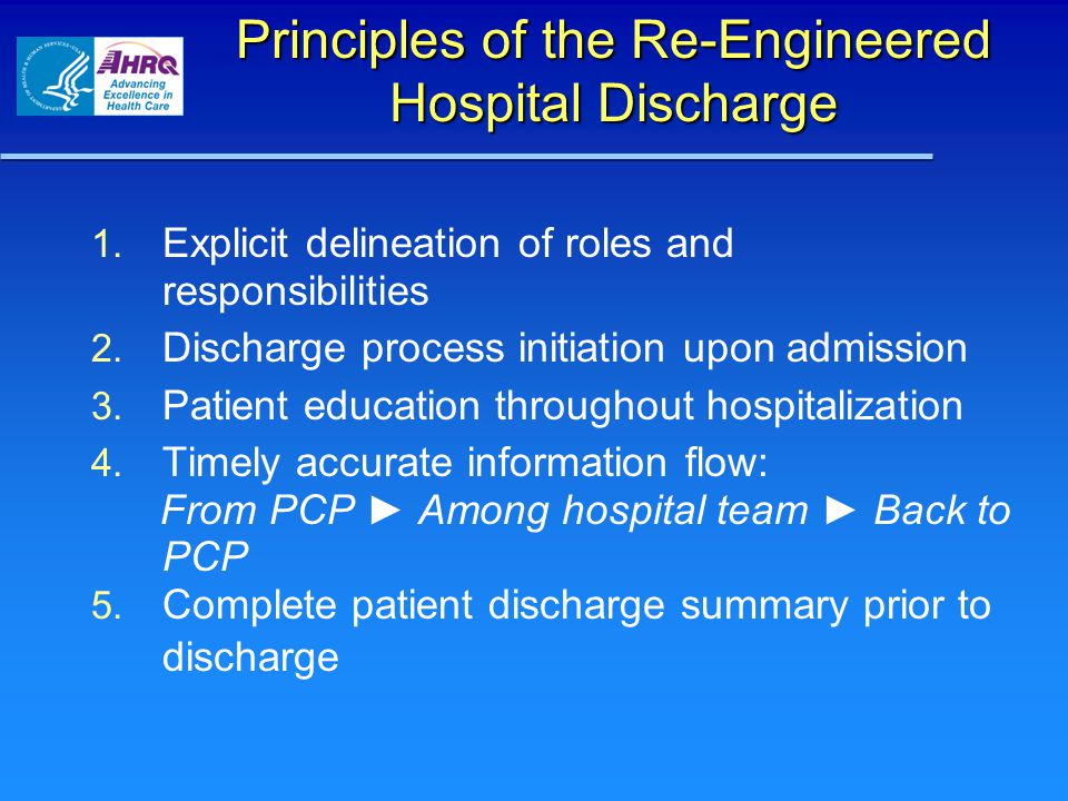 Principles of the Re-Engineered Hospital Discharge