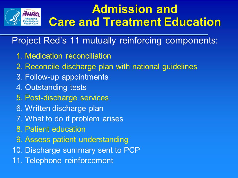 Admission and Care and Treatment Education