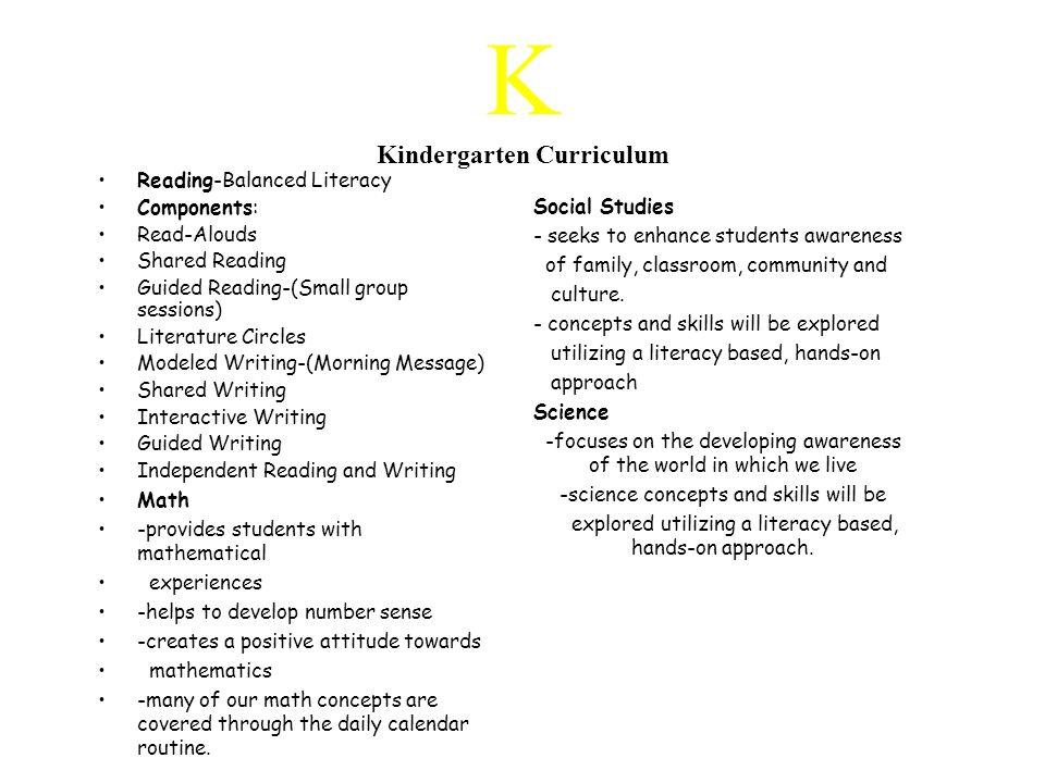 K Kindergarten Curriculum