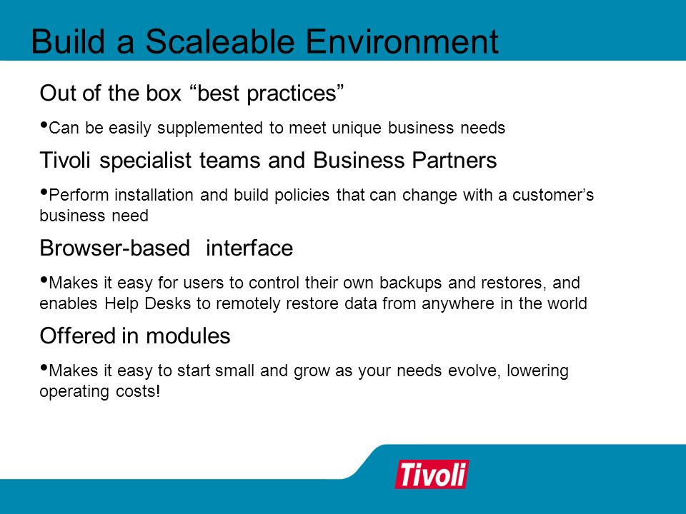 Build a Scaleable Environment