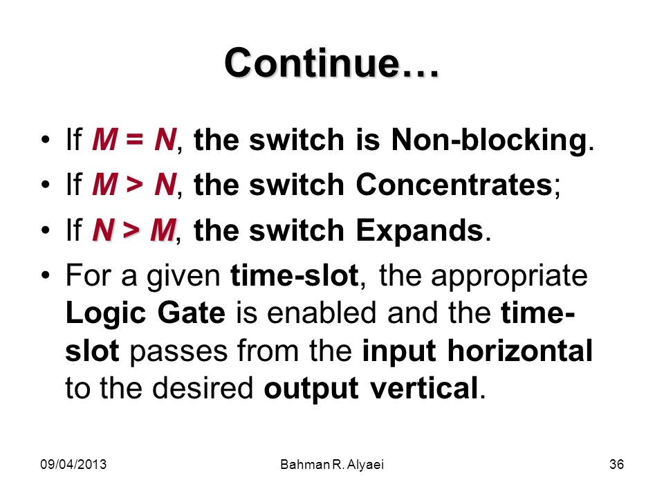 Continue… If M = N, the switch is Non-blocking.