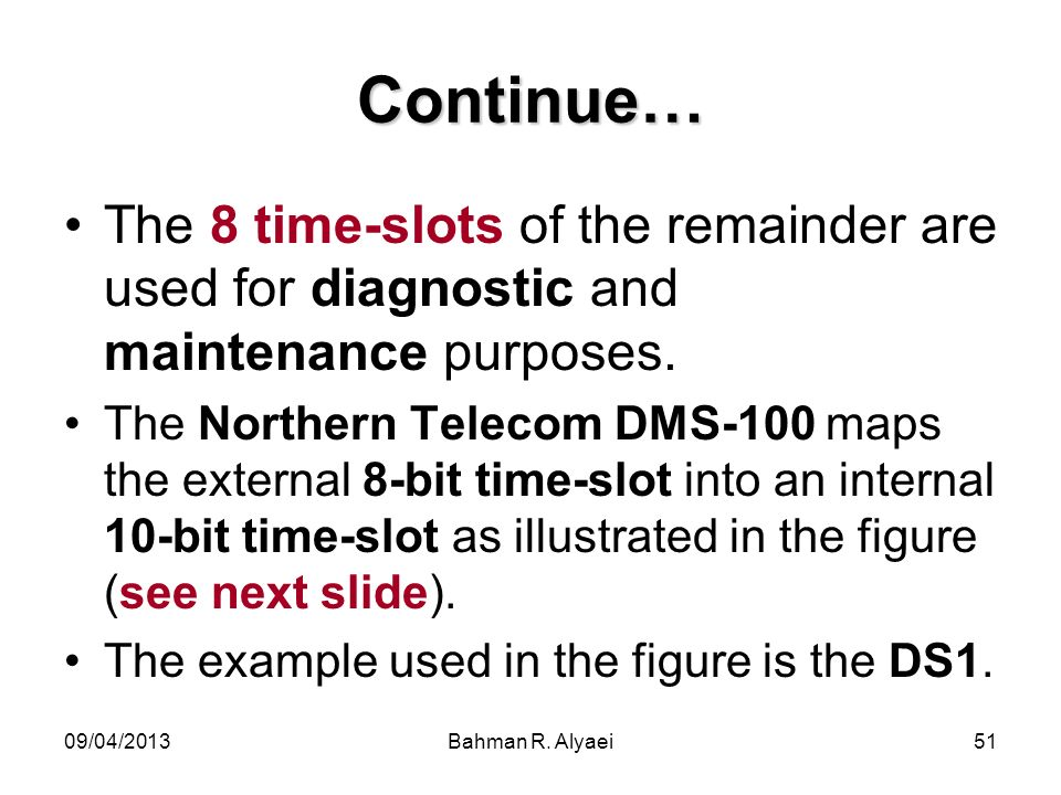 Continue… The 8 time-slots of the remainder are used for diagnostic and maintenance purposes.