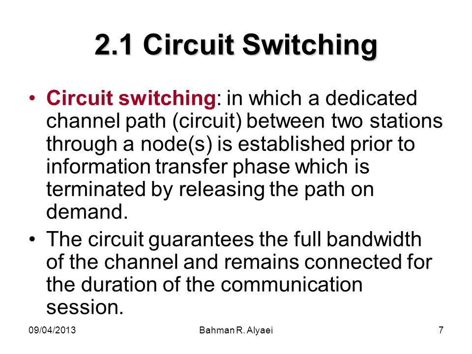 2.1 Circuit Switching