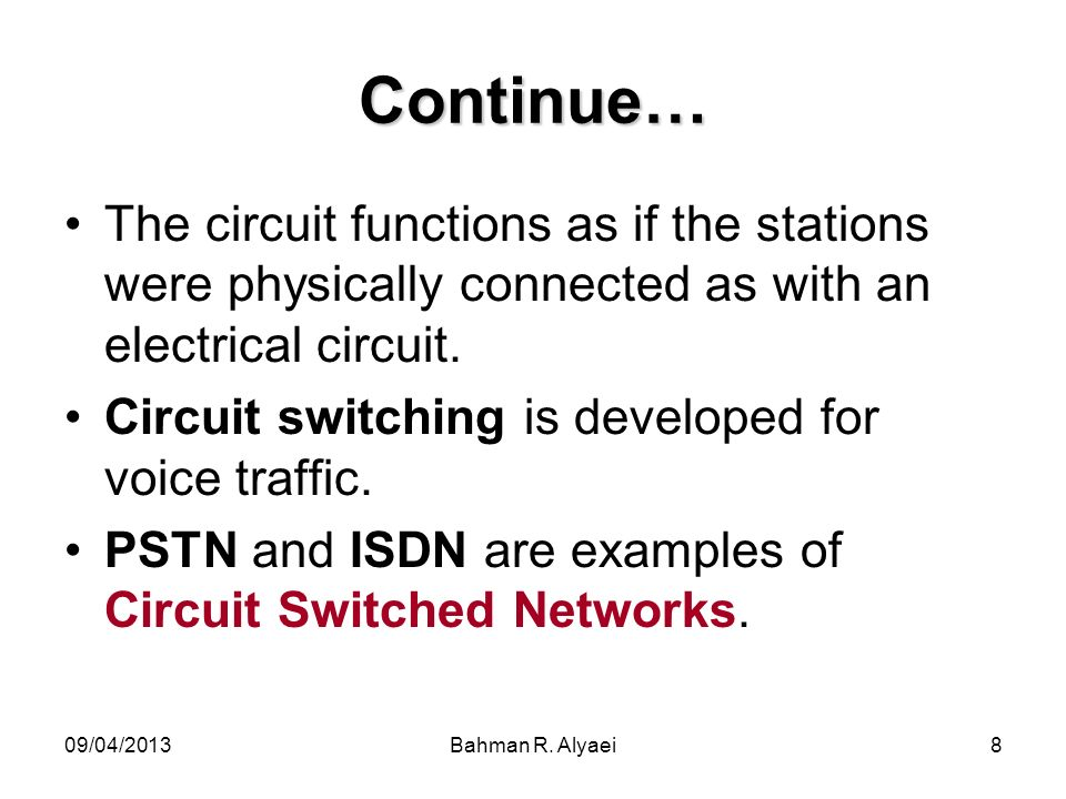 Continue… The circuit functions as if the stations were physically connected as with an electrical circuit.