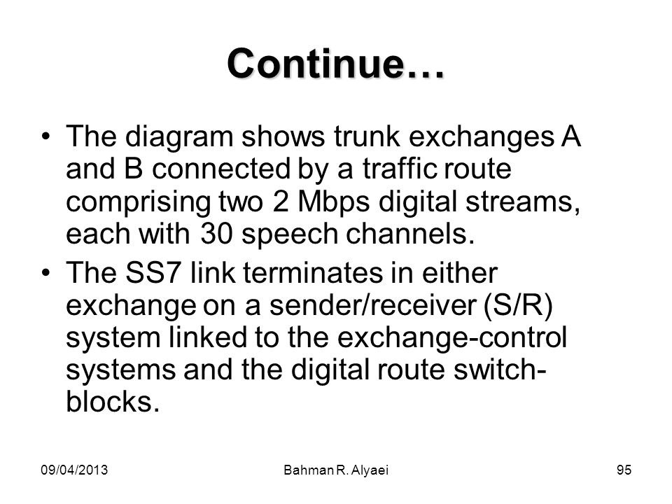 Continue… The diagram shows trunk exchanges A and B connected by a traffic route comprising two 2 Mbps digital streams, each with 30 speech channels.