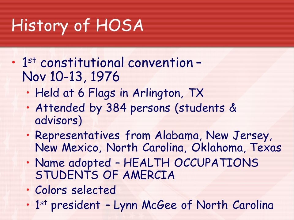 History of HOSA 1st constitutional convention – Nov 10-13, 1976