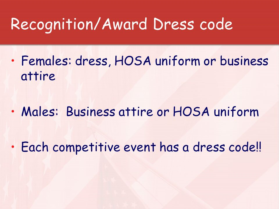 Recognition/Award Dress code