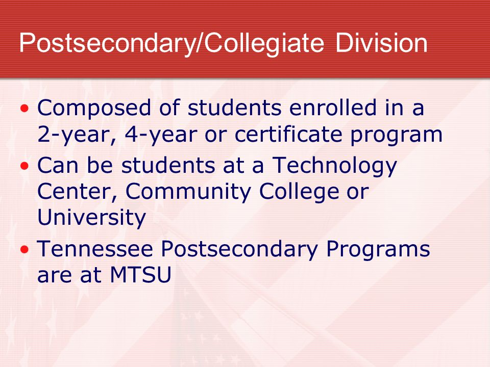 Postsecondary/Collegiate Division