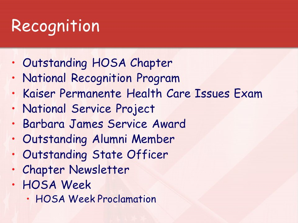 Recognition Outstanding HOSA Chapter National Recognition Program