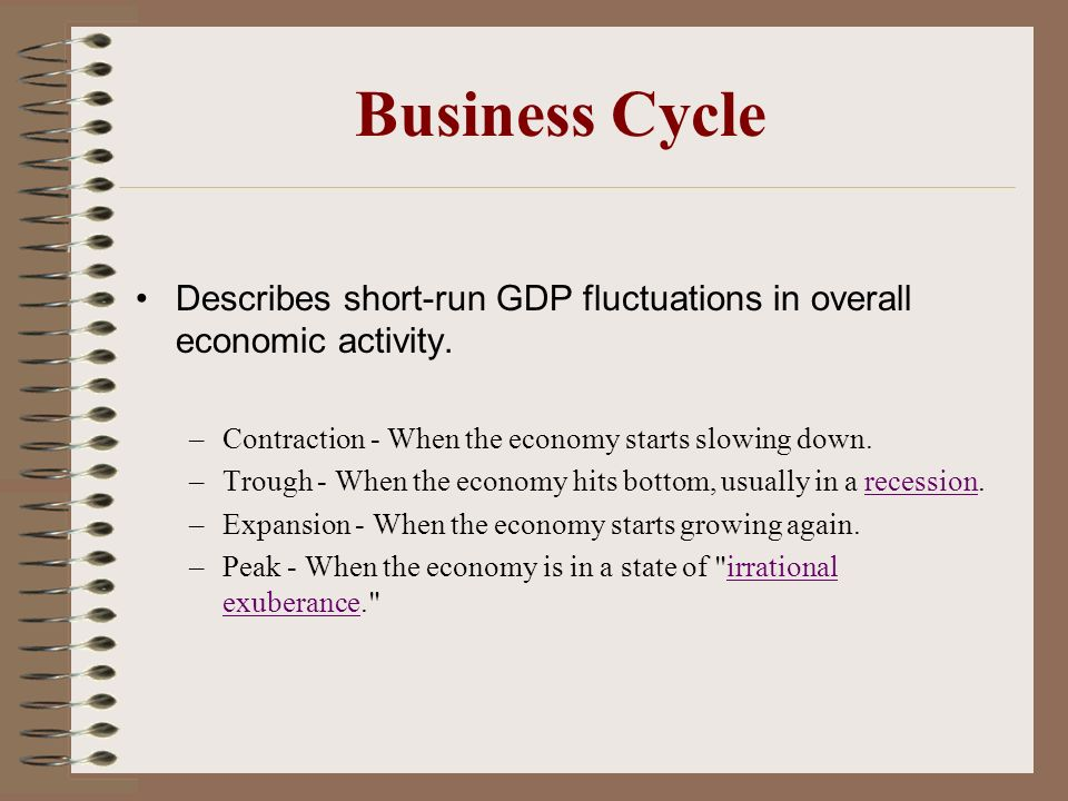 Business Cycle Describes short-run GDP fluctuations in overall economic activity. Contraction - When the economy starts slowing down.