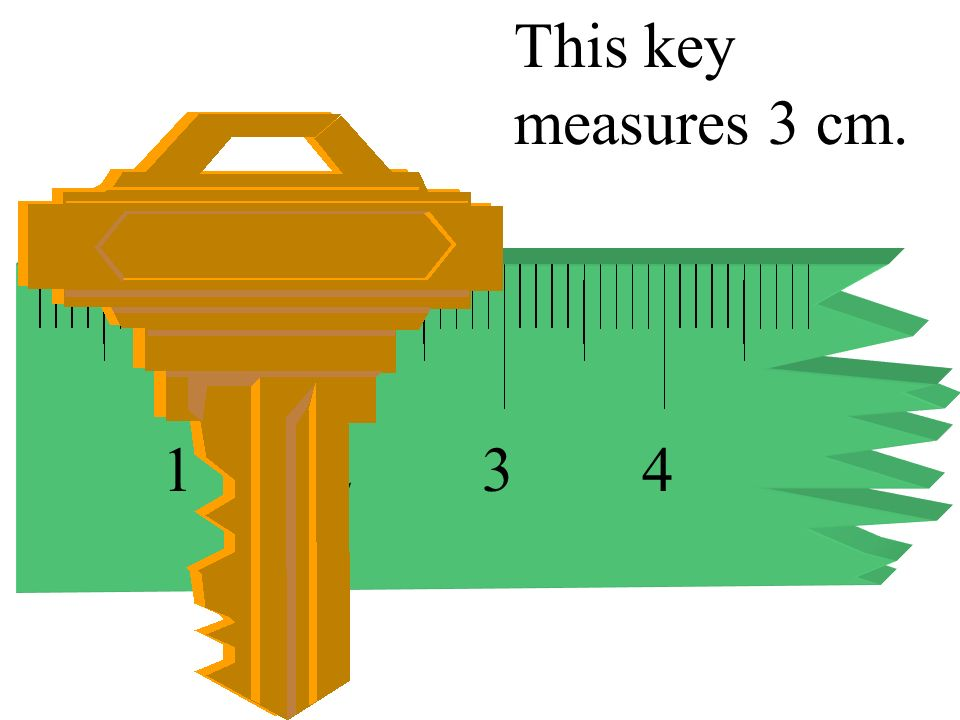 This key measures 3 cm. 1 2 3 4
