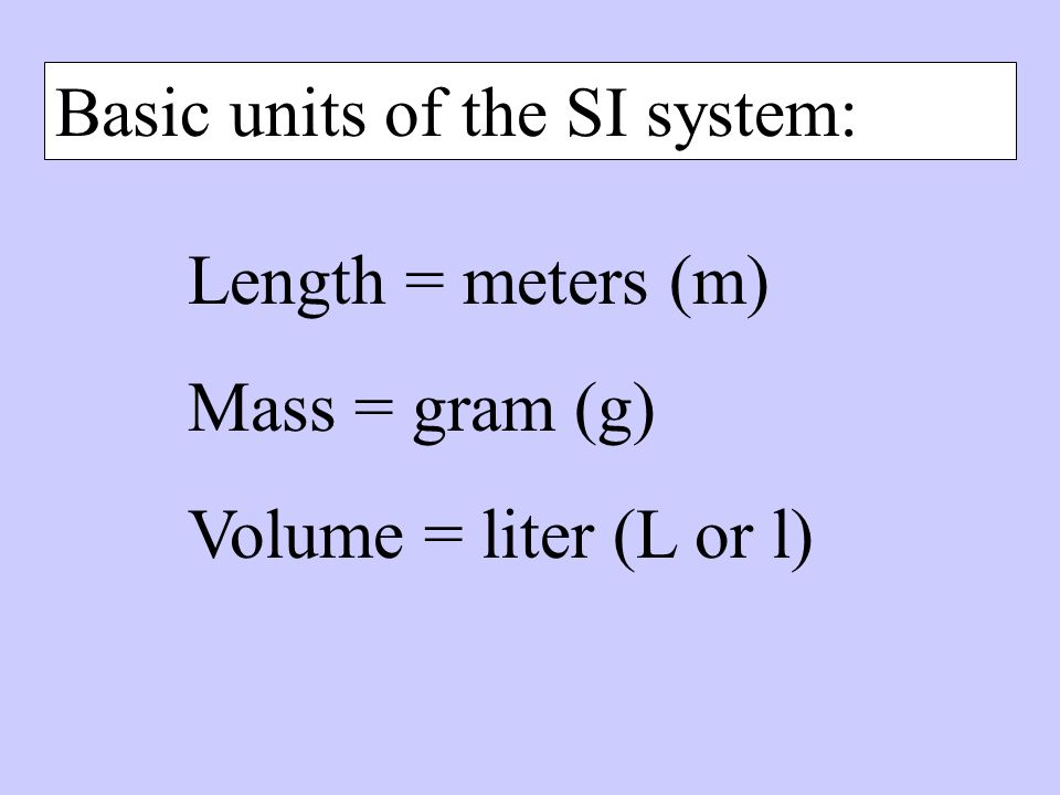 Basic units of the SI system: