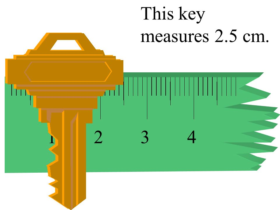 This key measures 2.5 cm. 1 2 3 4