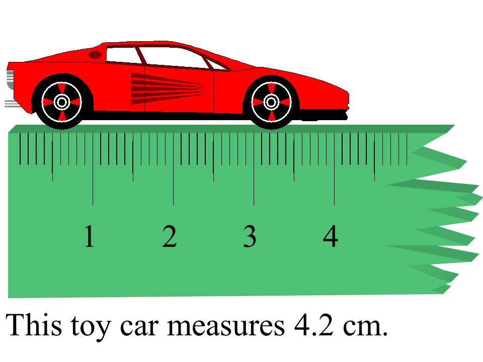 1 2 3 4 This toy car measures 4.2 cm.