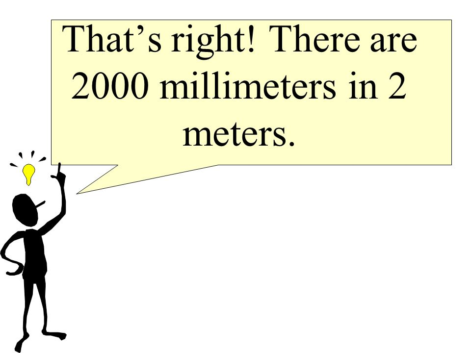 That's right! There are 2000 millimeters in 2 meters.