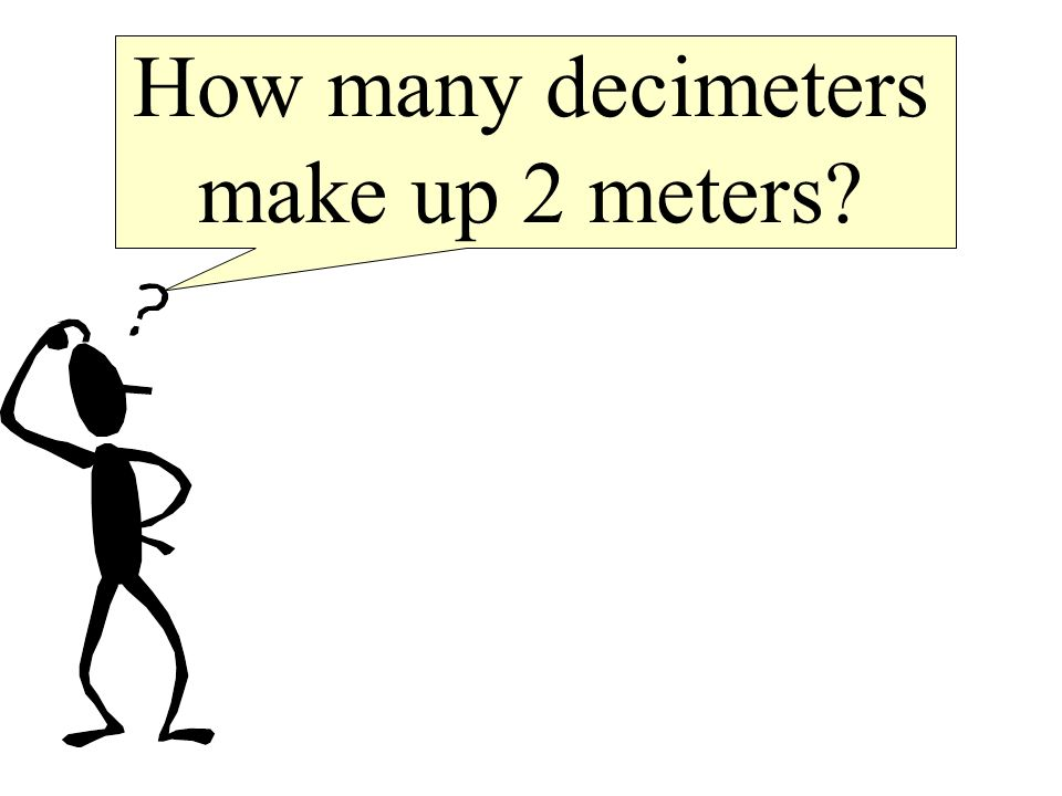How many decimeters make up 2 meters