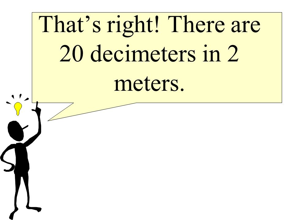That's right! There are 20 decimeters in 2 meters.