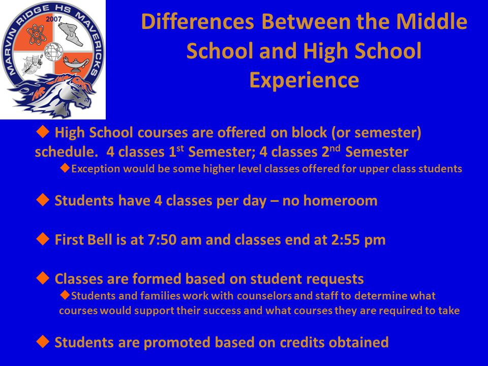 Differences Between the Middle School and High School Experience