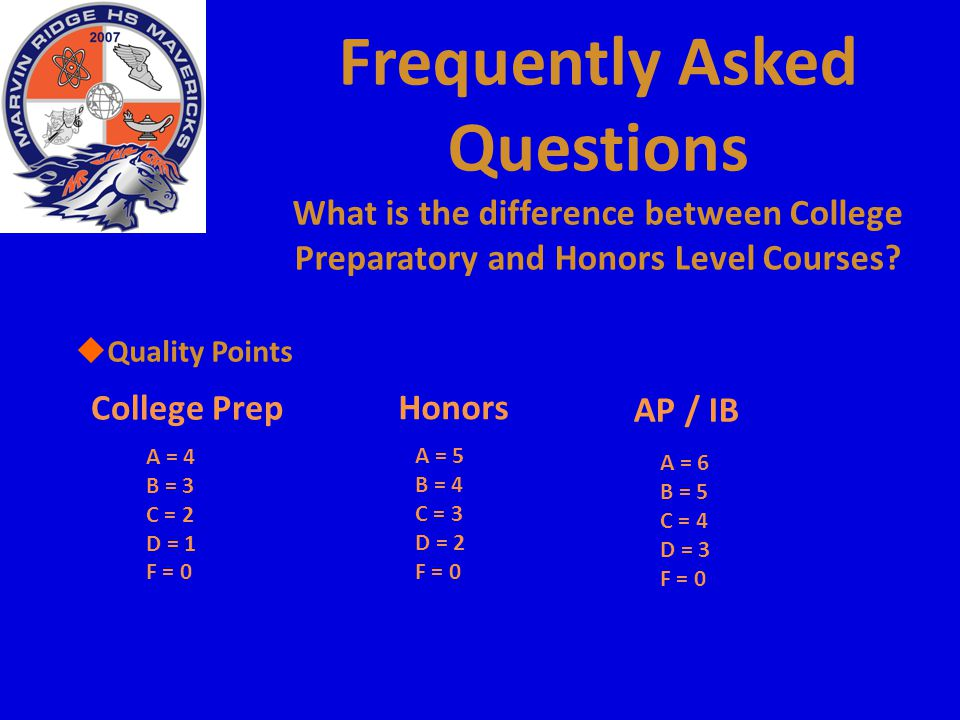 Frequently Asked Questions What is the difference between College Preparatory and Honors Level Courses