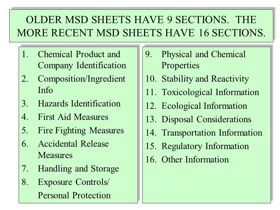 OLDER MSD SHEETS HAVE 9 SECTIONS