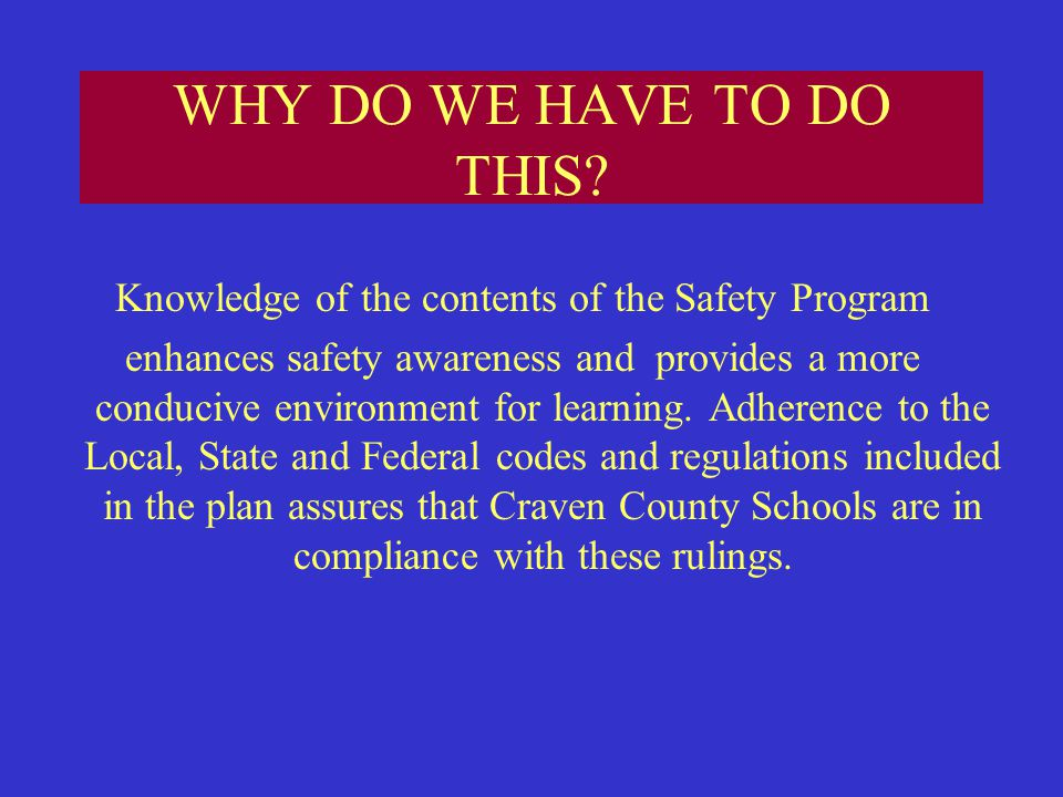 Knowledge of the contents of the Safety Program