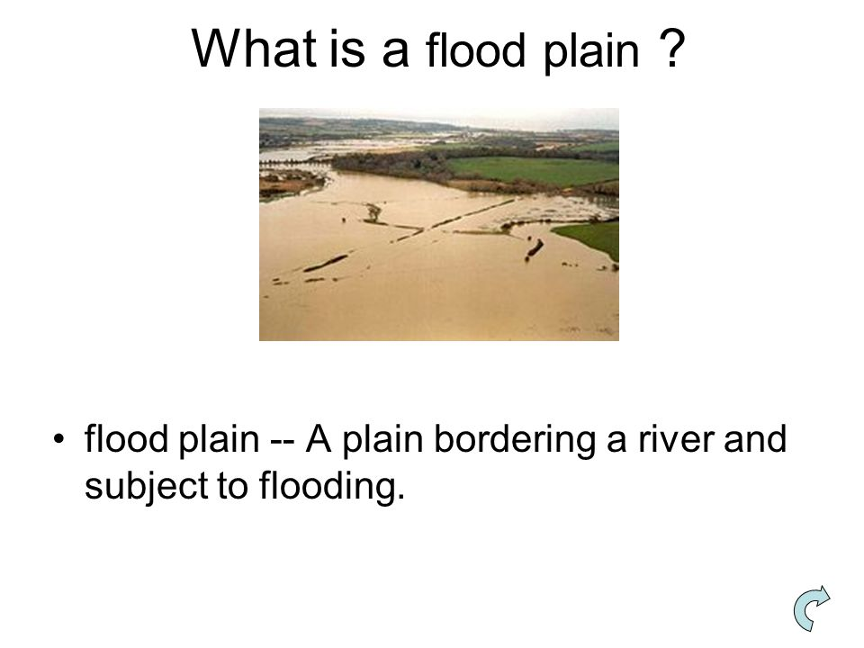 What is a flood plain flood plain -- A plain bordering a river and subject to flooding.