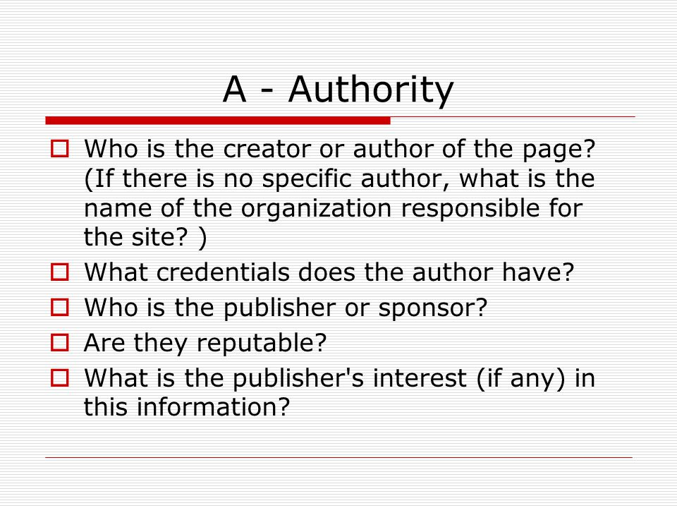 A - Authority