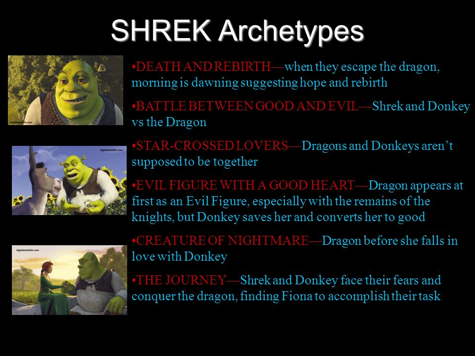 SHREK Archetypes DEATH AND REBIRTH—when they escape the dragon, morning is dawning suggesting hope and rebirth.